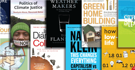 Collage of climate change books