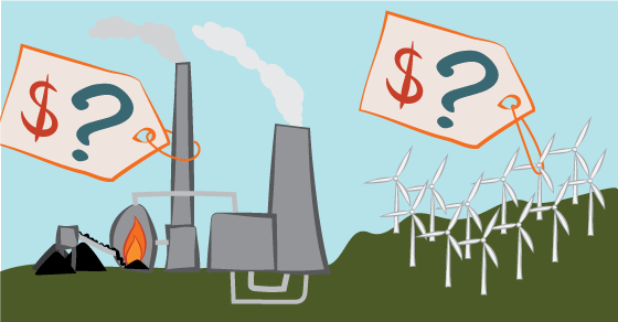 Price tags are attached to a coal-fired power plant and a wind farm