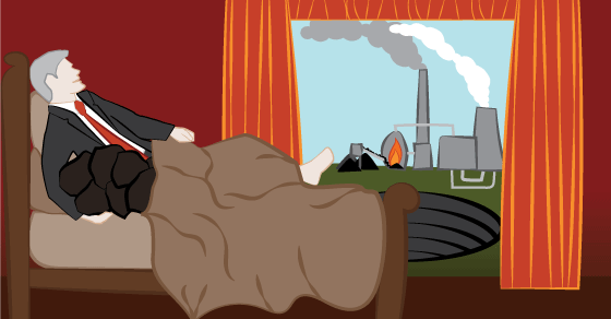 A man wearing a suit is lying in bed with his arm around a pile of coal. The view out the window is of an open-cut coal mine and a coal-fired power station