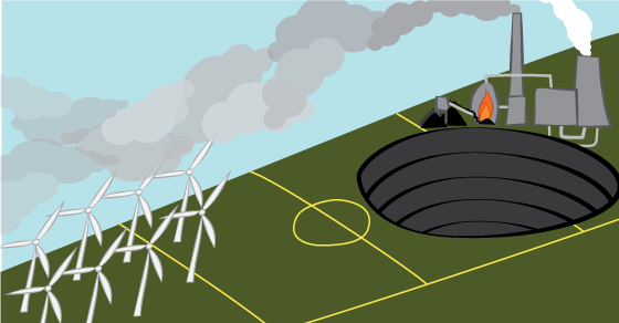 A team of wind turbines is facing up a steeply sloping playing field with a coal mine and power plant occupying the uphill half of the playing field.