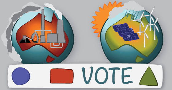 Two versions of the earth with the word 'vote' between them. The left earth has red land with a coal-fired power station and pollution cloud surrounding the planet. The right earth has green land with wind turbines and solar panels.